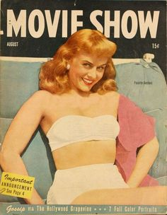 """Paulette Goddard on the cover of """"Movie Show"""" magazine, USA, August 1945."""