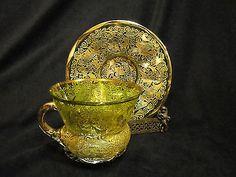 Antique Moser Heavily Gilt Cup Saucer Green Art Glass Bohemian Czech