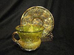 Antique Moser Heavily Gilt Cup Saucer Green Art Glass Bohemian Czech