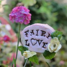 FAIRY LOVE sign for fairy garden terrarium by UnInhibited on Etsy, $9.00