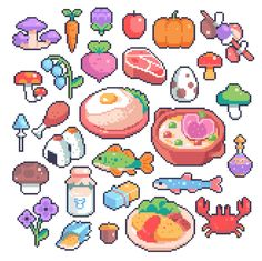 """Food from The Legend of Zelda: Breath of the Wild Pixel Art Anime, Pixel Art Food, How To Pixel Art, Pixel Art Games, Piskel Art, Pix Art, Art Pikachu, Faire Du Pixel Art, Modele Pixel"