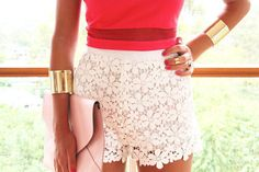 lace shorts and gold bangles