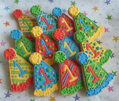Birthday Hat Cookies - Decorated Party Hat Cookie Favors - Party Hat Cookies - Birthday Cookie Favors - 1 Dozen. $35.99, via Etsy.