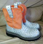 Women's ARIAT FATBABY Western Cowboy Boots Style 14750 SIZE 9 B US Orange Blue