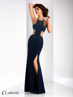 Clarisse 2017 prom dress style 3088. Sparkly cut out prom dress with a halter neck and slit. | Promgirl.net