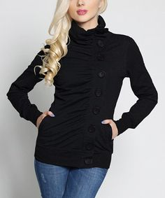 Another great find on #zulily! Black Asymmetrical-Button Funnel Collar Jacket #zulilyfinds