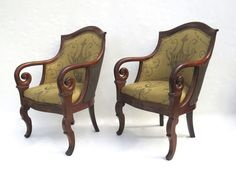 Pair of French Empire Mahogany Arm Chairs from Black Tulip Antiques on Ruby Lane