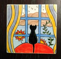 Cat Posters, Clay Design, Tile Art, Pictures To Paint, Vocabulary, Workshop, Kids Rugs, Hand Painted, Patterns