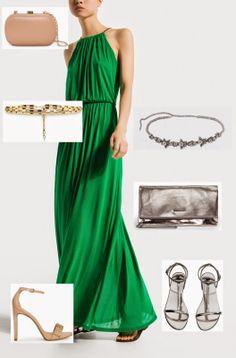 Nude o plata con un vestido verde de Massimo Duti  #fashion #lowcost  http://cuchurutu.blogspot.com.es/2014/05/complementos-de-boda-lowcost.html