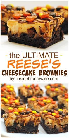 Brownies with cheesecake and three kinds of Reese's candies is one amazing dessert! Cheesecake Brownie Bars, Chocolate Peanut Butter Cheesecake, Fudge, Reeses Peanut Butter, Peanut Butter Desserts, Blondie Brownies, Brownie Cookies, Cookie Bars, Cake Cookies