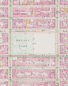 pink vintage map - bryant park