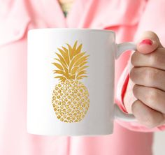 Houseplants for Better Sleep Gold Pineapple Mug Gold Gifts Coffee Mug Tea By Prettychicsf