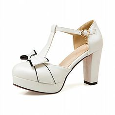 52882c26d81 Buy Lucksender Womens Round Toe High Heel Platform T-strap Sandals Pumps  With Cute Bowknots