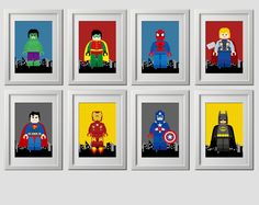 Lego Superhero Wall Art Superhero Posters Bedroom by EniPixels