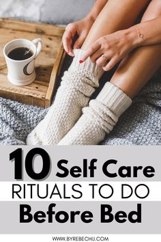 Try these 10 self care, self love rituals, routine every night before bed for more day time success and inner peace. In this article, you'll learn the easiest ways to practice a self care routine at night. These self care ideas can be used to help promote better sleep, soothe your stress away, and help you take better care of yourself!