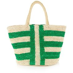 Sensi Studio Bi-colour straw tote (€110) ❤ liked on Polyvore featuring bags, handbags, tote bags, woven straw tote, green purse, green handbags, tote handbags and woven straw handbags