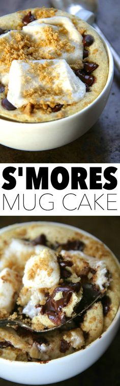 S'mores Mug Cake -- No campfire? Satisfy your s'mores craving with this soft and doughy campfire-free mug cake. Quick, easy, and made without butter or oil, it makes a perfect single-serve snack! Mug Recipes, Cake Recipes, Dessert Recipes, Cooking Recipes, Steak Recipes, Mug Cakes, Cupcake Cakes, Single Serve Desserts, Just Desserts