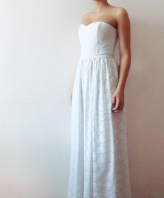 Sample Sale  White Dream  Lace Wedding dress Long by dhela on Etsy, $270.00