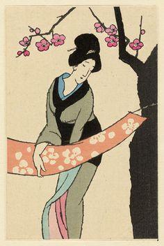 竹久夢二木版画 「織物」