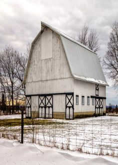 White barn in winter snow... I love this barn!
