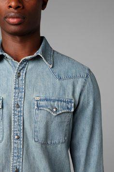Urban Outfitters Salt Valley Denim Western Shirt in Blue for Men (VINTAGE DENIM LIGHT )