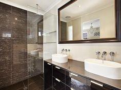 Classic bathroom design with twin basins using frameless glass - Bathroom Photo 235155