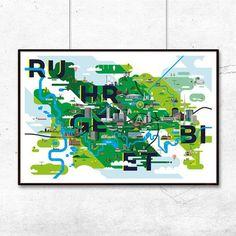Ruhrgebiet Karte Kunstdruck (91 x 61 cm Maxi Poster)