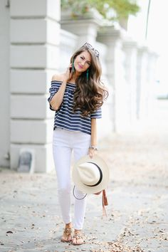 11bb42382b97 Southern Curls & Pearls: Off Shoulder Top in Charleston... White Skinny