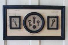 Frame up old keys in some old frames and attach in a grouping on a larger frame~