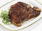 Perfect TBone steak.  I've never cooked a tbone before so tried this tonight and it was great- perfectly seared yet juicy on the inside.