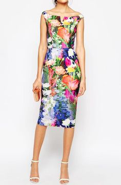 Boat Neck V Cut Back Split Florals Dress 29.67