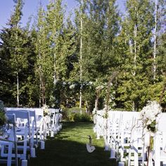 The ceremony site was decorated with wild flowers