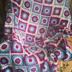 Your place to buy and sell all things handmade : This is a delightful crochet blanket, a change on the classic granny square, with a sunburst design, in a patchwork arrangement. Winter Blankets, How To Find Out, How To Make, Double Knitting, Knitted Blankets, Dear Santa, Charity, All Things, Buy And Sell