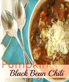 "Pumpkin Black Bean Chili: Perfect for ""chilly"" fall days, this soup is simply delicious and so comforting!"