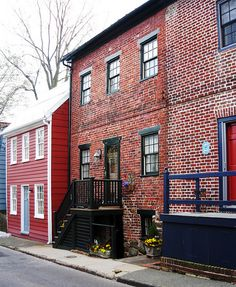Townhomes in historic Annapolis (capital of Maryland), US