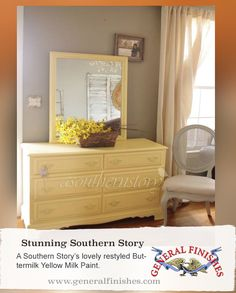 A Southern Story, http://asouthernstory.com/tag/furniture/, took General Finishes Buttermilk Yellow Milk Paint and created a very sweet and lovely dresser.To get your own can of General Finishes Milk Paint, visit your local Rockler Woodworking & Hardware stores, Woodcraft stores, Amazon.com, or find other retailers at http:www.generalfinishes.com/where-to-buy. Limited selections are also available at www.leevalley.com in Canada.