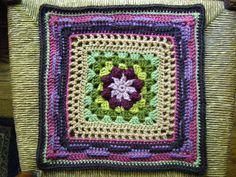 "Melinda Miller has some lovely crochet square patterns on ravelry. Here's one put together by ""chitweed"" on flickr."