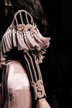 Black & pink pearl embellished dress with tassels; fashion details // Balmain Fall 2016