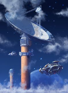 New spaceship art by our friend Pat Presley. Keywords: futuristic spaceship environment art illustration inspired by john harris painti. Arte Sci Fi, 70s Sci Fi Art, Arte Tribal, Spaceship Art, Concept Art World, Concept Ships, Science Fiction Art, Science Writing, Environment Concept