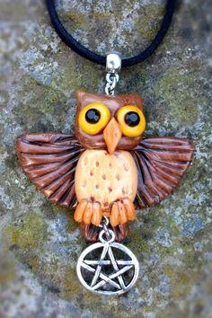 Polymer clay owl pentacle pendant by GoblinMoonUK on Etsy