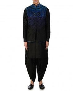 Resham Embroidered Black Waistcoat by Tarun Tahiliani