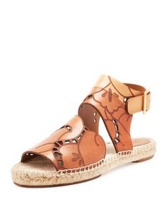 Tooled Leather Espadrille Sandal, Marron Glace by Chloe at Neiman Marcus.