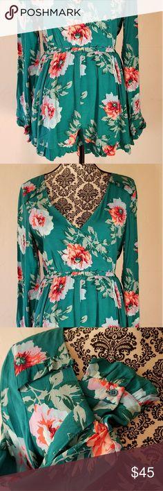 Minkpink pretty primrose tea playsuit sz L Multi color floral print romper teal MINKPINK Shorts
