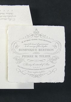 Lovely vintage-inspired letterpress wedding invitation design by Oblation Papers & Press.