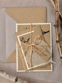 Rustic bird themed wedding invitations from @4LOVEPolkaDots