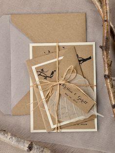 Rustic bird themed wedding invitations from @4LOVEPolkaDots
