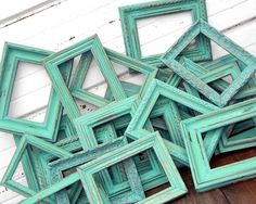 Five 5x7 Picture Frames For Table Number Or CenterpieceShabby Photo Frames Chic Aqua Mint