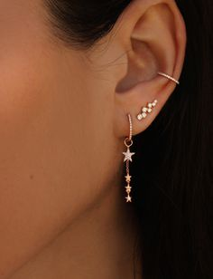 14kt gold and diamond dripping star earring *comes as a pair *can wear diamond hoop separately