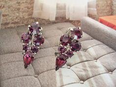 vintage 1950s clip on earrings amethys quartz by HuellaHuella.