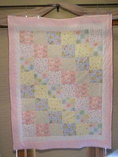 Pink Pastel Crib Size Pastel Quilt